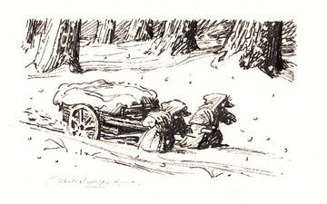 Redwall Rakkety Tam - 'trundling a cart in the snow' original art