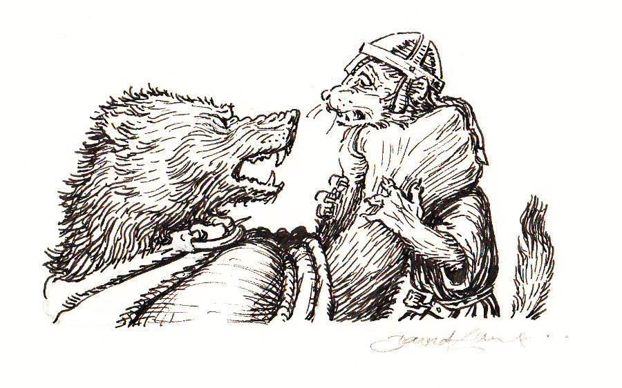 Redwall Rakkety Tam - 'Gulo the wolverine with hapless ermine sentry' original art
