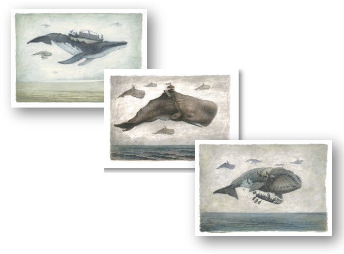 6 Card Set - Flying whales