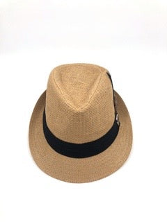 The Feathered Fedora- Tan hat complimented with plumes in blues
