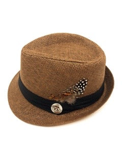 The Feathered Fedora- Brown hat accented with rich rust and orange undertones