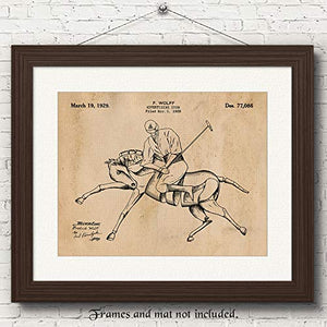 Vintage Advertisement Polo Player Patent Poster Prints, Set of 1 (11x14) Unframed Photo, Wall Art Decor Gifts Under 15 for Home, Office, Man Cave, College Student, Teacher, Coach, Sports & Derby Fan