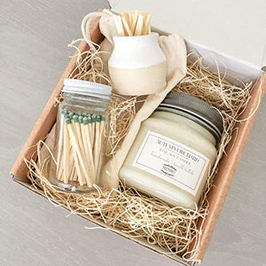 Candle & Match Striker Gift Set - Handmade, Small batch natural soy mason jar candle - 8 oz or 16 oz