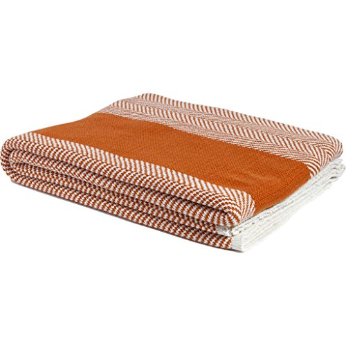 in2green Eco Poly Herringbone Stripe Throw- Ultra Luxury Outdoor Blanket, Made in USA (Orange/Ivory)