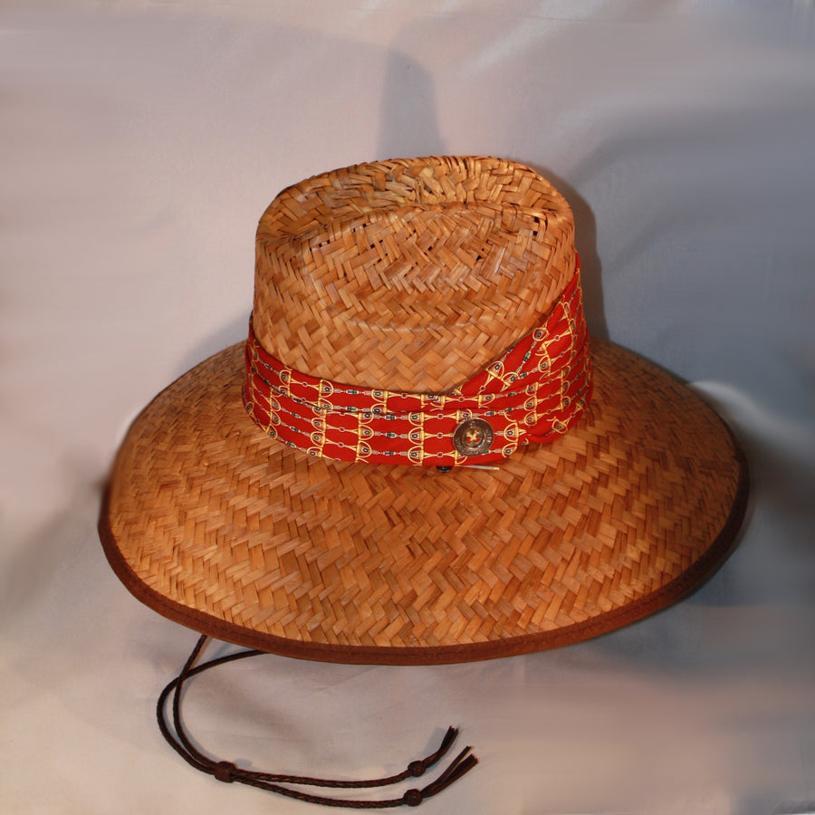 Intricate Gold Snaffle Bit Wide Brim Sun Hat-Red