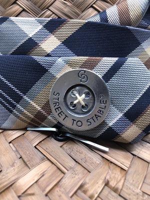 Madras Style Classic Plaid - Navy & Golden Brown Earth Tones