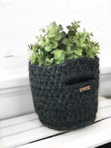 Mini Basket with Handles in Charcoal