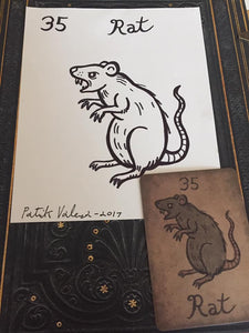 """The Rat"" Mildred Payne Oracle Original Ink Drawing"