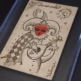 """Serenade"" Ace of Hearts Original Valenza Transformation Sketch-Inked on 1830s Card"