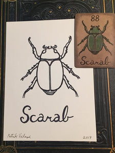 """The Scarab"" Mildred Payne Oracle Original Ink Drawing"
