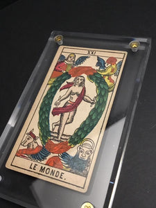 """The World""-Original Antique Hand Painted Tarot Card 1890s"