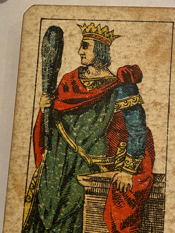 """King of Wands""-Authentic Antique Tarot Card 1920.  G. Cassini  Brescia"
