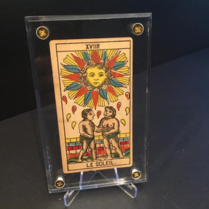 """The Sun""-Original Antique Hand Painted Tarot Card 1890s"