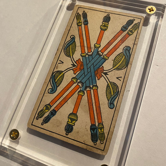 """5 of Wands""- Historical Antique Hand Painted Tarot Card 1890s"