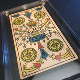 "'4 of Coins""-Original Antique Hand Painted Tarot Card 1890s"