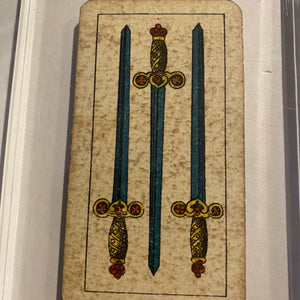 """3 of Swords""-Authentic Antique Tarot Card 1920.  G. Cassini  Brescia"