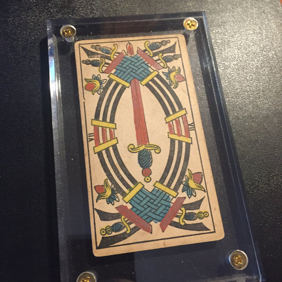 """7 of Swords""- Historical Antique Hand Painted Tarot Card 1890s"