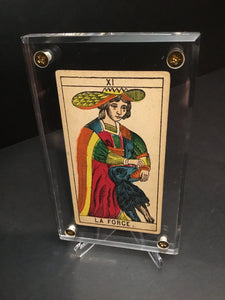 "Strength""-Original Antique Hand Painted Tarot Card 1890s"