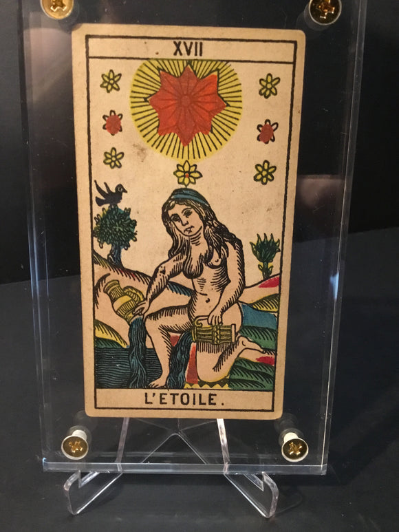 """The Star""-Historical Antique Hand Painted Tarot Card 1890s"