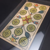 """Ten of Coins""-Original Hand Painted Card 1890s"