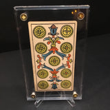 """Nine of Coins""-Original Antique Hand Painted Card 1890s"