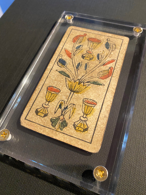 """3 of Cups""-Historical Antique Hand Painted Tarot Card 1850"