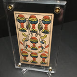 """Seven of Cups""-Original Antique Hand Painted Card 1890s"
