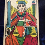 """Justice""-Historical Antique Hand Painted Tarot Card 1890s"