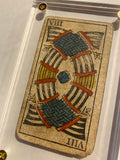 """8 of Swords""-Historical Antique Hand Painted Tarot Card 1850"