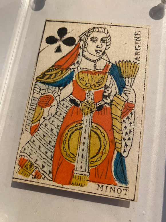 Queen of Clubs-Authentic 18th Century Playing Card