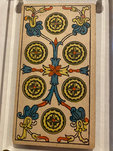 """6 of Coins""- Historical Antique Hand Painted Tarot Card 1890s"