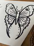 The Moth- Original Ink Drawing/ Signed