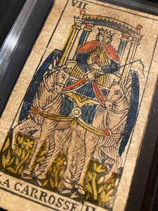 """The Chariot- Historical Antique Hand Painted Tarot Card 1850"