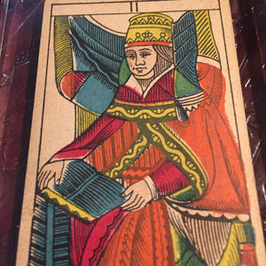 """The High Priestess""-Original Antique Hand Painted Tarot Card 1890s"