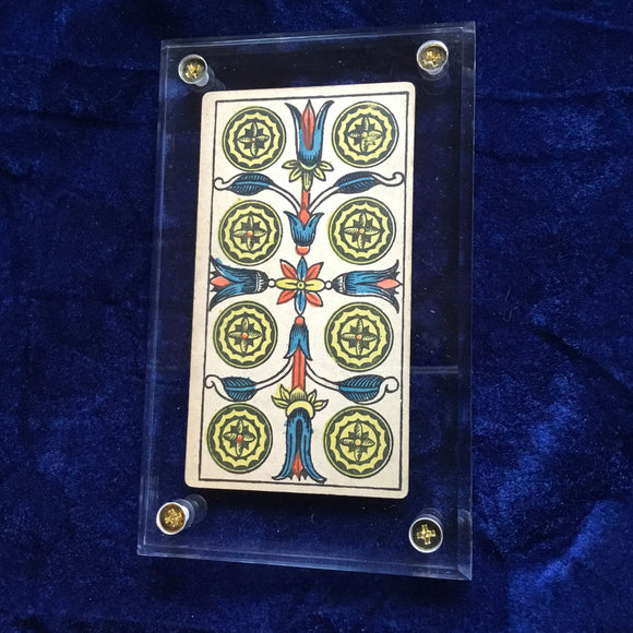 """8 of Coins""-Historical Antique Hand Painted Tarot Card 1890s"