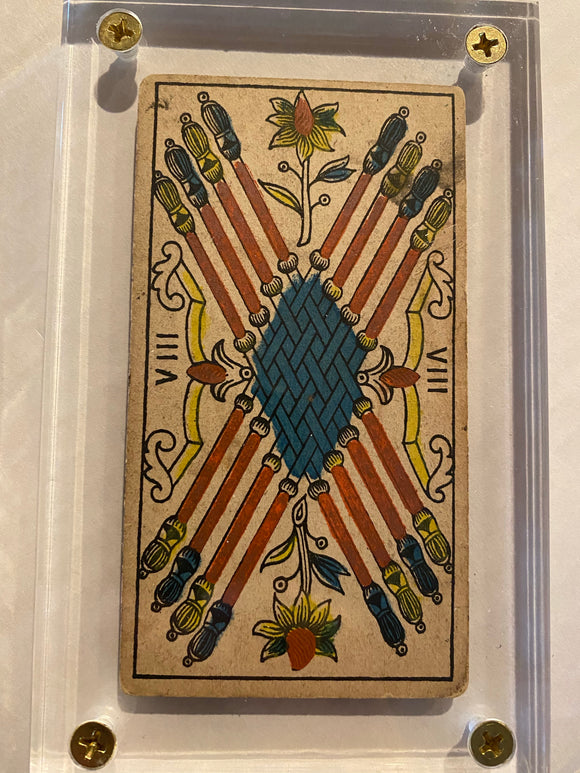 """8 of Swords""- Historical Antique Hand Painted Tarot Card 1890s"
