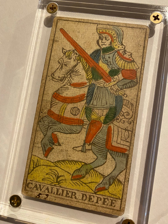 Knight of Swords-c.1839 Tarot Marseille Bernardin Suzanne