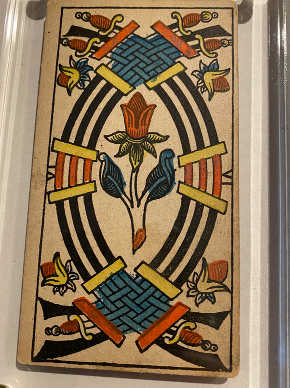 """6 of Swords""- Historical Antique Hand Painted Tarot Card 1890s"