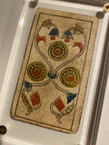 """3 of Coins""-Historical Antique Hand Painted Tarot Card 1850"