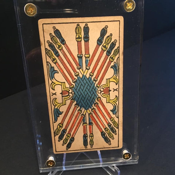 "'10 of Wands""-Original Antique Hand Painted Tarot Card 1890s"