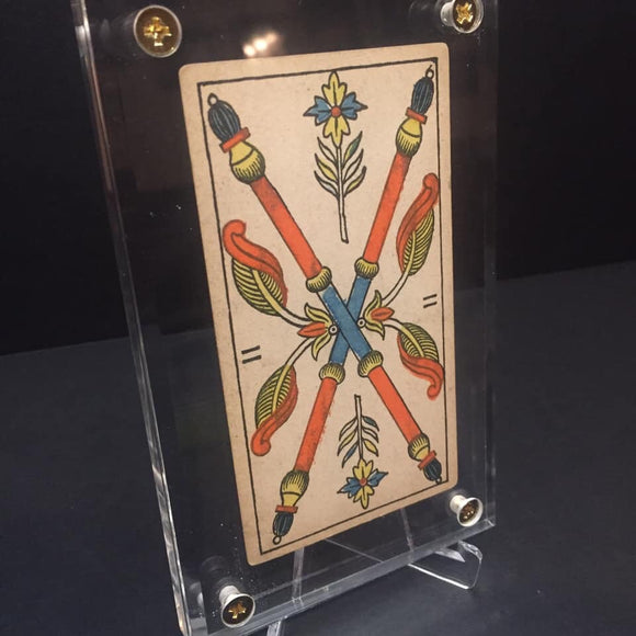 """Two of Wands""-Original Hand Painted Card 1890s"