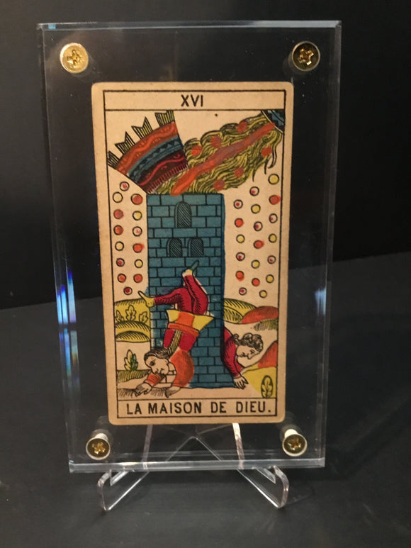 """The Tower""-Historical Antique Hand Painted Tarot Card 1890s"