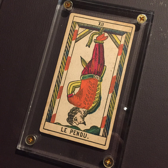 """The Hanged Man""-Historical Antique Hand Painted Tarot Card 1890s"