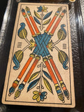 """4 of Wands""- Historical Antique Hand Painted Tarot Card 1890s"