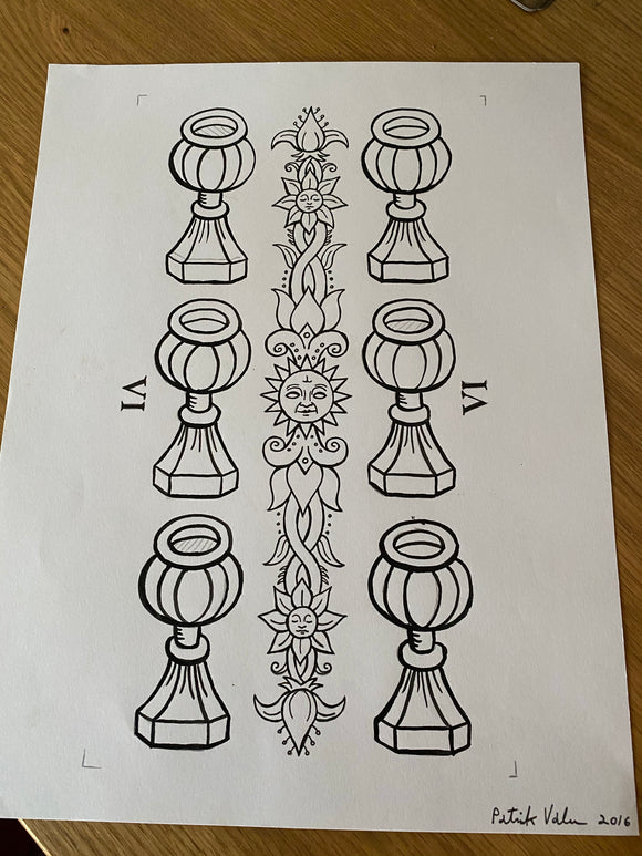 6 of Cups-Trionfi Della Luna Original Ink/signed
