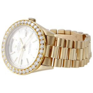 Mens 18K Yellow Gold Diamond Watch 36mm Rolex President Day-Date 18038 3.75 Ct.