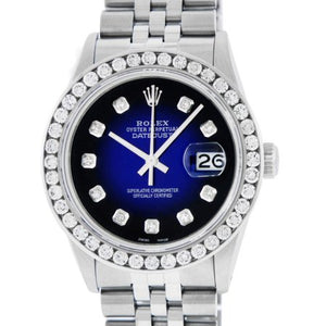 Pre-Owned Rolex Mens Datejust Steel and 18K White Gold Blue Vignette 3.10 Carat Diamond Watch Jubilee Quickset