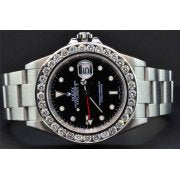Diamond Rolex Watch Explorer II Black Dial Stainless Steel Band 6 Ct Bezel 40