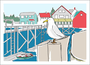 Seagull in Harbor Card
