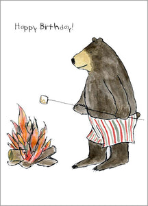 Bear Roasting Marshmallow Happy Birthday Card